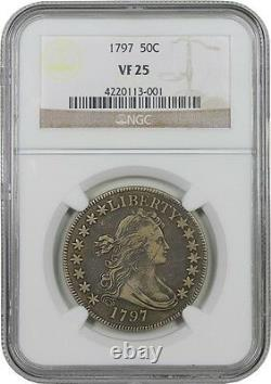 1797 Small Eagle Half Dollar. NGC graded VF-25. The Overton Plate coin