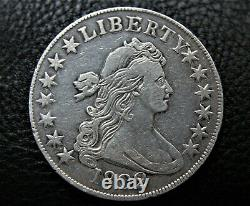 1802 Early U. S. Draped Bust silver half dollar VF cleaned