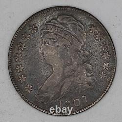 1807 Capped Bust Half Dollar 50c Silver Type 1 Small Stars F Fine (2660)