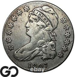 1807 Capped Bust Half Dollar, Lg Stars, Hard To Find VF Key Date Collector Coin