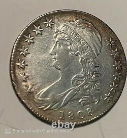 1808 Capped Bust Silver Half Dollar AU About Uncirculated (CL), Free Shipping