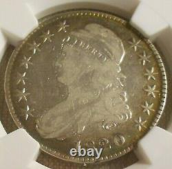 1820 LG Large Date Square 2 No Knob Capped Bust Half Dollar F 15 NGC O 108 Coin