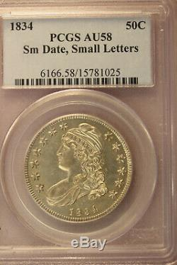 1834 50c Cap Bust Silver Half Dollar. PCGS AU 58. Small date and Small letter