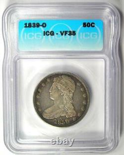 1839-O Capped Bust Half Dollar 50C Certified ICG VF35 Rare O Mint Coin