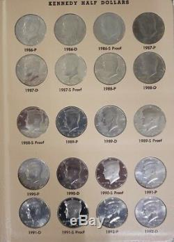 186 Coin Kennedy Half Dollar Set Unc in Dansco, including Proof, Silver + Satin
