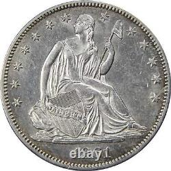 1861 50c Seated Liberty Silver Half Dollar Coin Choice About Uncirculated