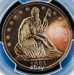 1861 Pr61 Seated Liberty Half Dollar Rev Dcam/ Pop 12 Nice Upgrade