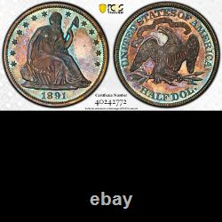 1891 PCGS PR64 Mintage 600 Colors! Final Year Seated Half Dollar PROOF 50C