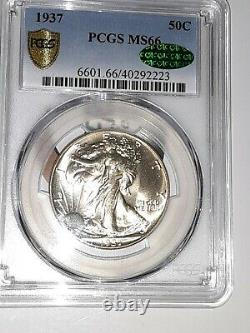 1937 P PCGS MS-66 Walking Liberty CAC No Toning Exquisite, Exceptional Coin