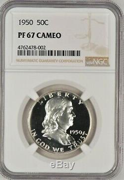 1950 Franklin Half Dollar Proof NGC PF 67 CAMEO / PR67CAM Freshly Graded Frost
