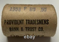 1958 Franklin Half Dollar Original Bank Wrapped Roll With End Roll Toners OBW EOR