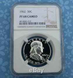 1962 NGC PF 68 Cam Silver Franklin Half Dollar, Gem Proof 68 Cameo 50 Cent Coin