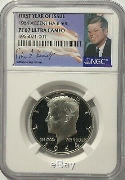 1964 NGC PF67 ULTRA CAMEO ACCENT HAIR PROOF KENNEDY HALF DOLLAR SILVER 50 c UCAM