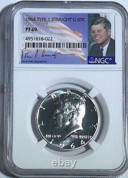1964 Ngc Pf69 Proof Type 1 Straight G Silver Kennedy Half Jfk Coin Signature 50c