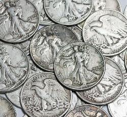 20 Coin Roll Lot Of UNSEARCHED 90% Silver $10 FV Walking Liberty Half Dollars