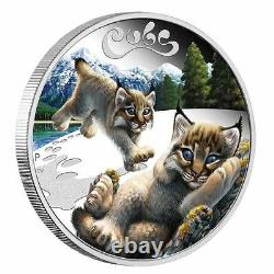2016 Lynx Cubs Tuvalu 1/2 oz SIlver Proof 50c Half Dollar Coin Colorized