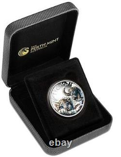 2016 Snow Leopard Cubs Tuvalu 1/2 oz SIlver Proof 50c Half Dollar Coin Colorized
