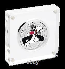 2018 Tuvalu LOONEY TUNES SYLVESTER the CAT 1/2oz SILVER Half Dollar PROOF COIN