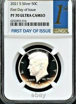 2021 S Silver 99.9 Kennedy Half Dollar First Day Of Issue NGC PF70 Ultra Cameo