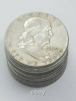 Ben Franklin Half Dollar 1/2 Roll Silver 90% $5 1948-1963 PDS FULL DATE With TUBE