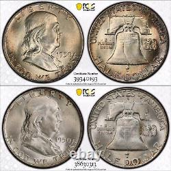 Complete PCGS Set Franklin Silver Half Dollar 35 Coins 1948 1963 TONED MS FBL