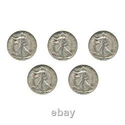 Count of 5 Walking Liberty Half Dollar XF/VF Condition 90% Silver