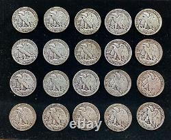 LOT OF 20 US WALKING LIBERTY HALF DOLLARS 90% SILVER COIN (One) COIN ROLL