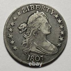 Rare 1807 Draped Bust 50C Half Dollar. Magnificent United States Silver Coin