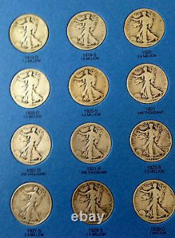 Walking Liberty Silver Half Dollar Complete Early Date Set 90% SILVER COINS